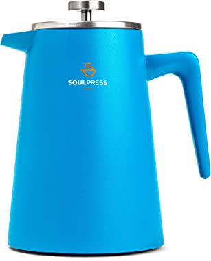 Stainless Steel French Press, Blue, Double Wall Insulated Coffee Maker, Dual-Filter Screen, 34oz, Ergonomic Handle, French Pr