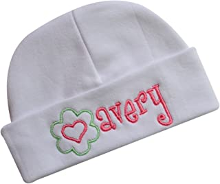 Embroidered Baby Girl Hat Personalized Keepsake Custom Infant Hat With Flower for Baby Girls From Funny Girl Designs - White Cotton Hat