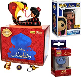Arabian Enchantment Figure Box Set Exclusive Aladdin Movie Moment Jafar Snake Abu Pint Size / Princess Jasmine Desert Moon Outfit #543 + Genie of The Lamp Pocket Pop Keychain Backpack Hanger 3 Items