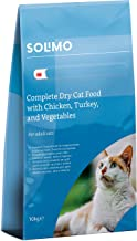 Marca Amazon - Solimo - Alimento seco completo para gatos adultos con pollo, pavo y verduras, 1 Pack de 10 kg
