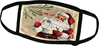 3dRose Face Mask Medium, Hohoho Santa Christmas Vintage Illustration