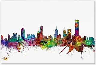 Melbourne Skyline by Michael Tompsett, 22x32-Inch Canvas Wall Art