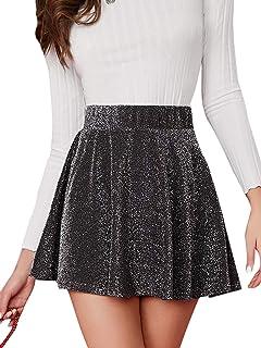 Women's Elastic Waist Glitter A Line Swing Mini Skirt