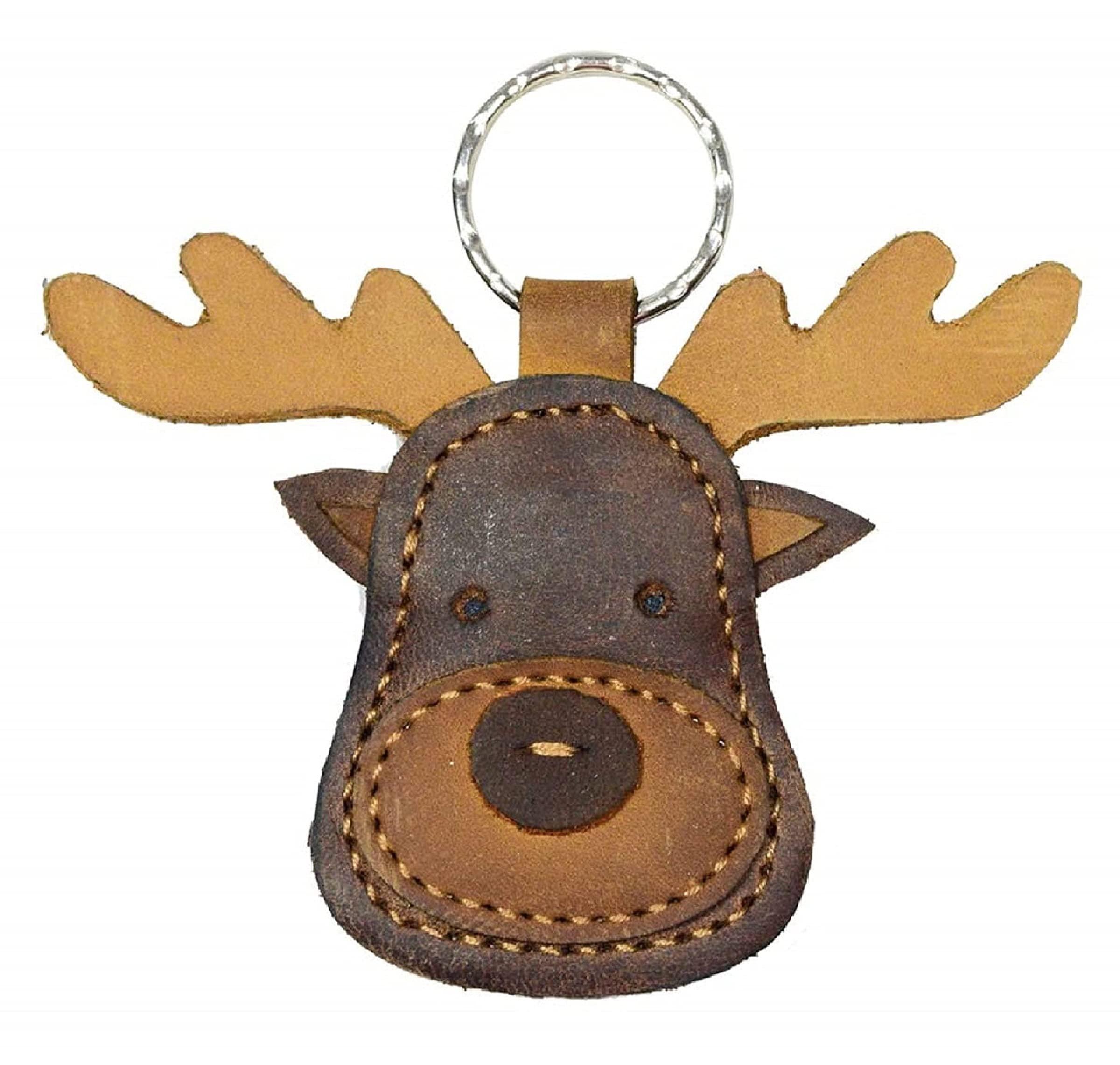 Llavero - Hide & Drink  Leather Moose Keychain / Stuffed Ani