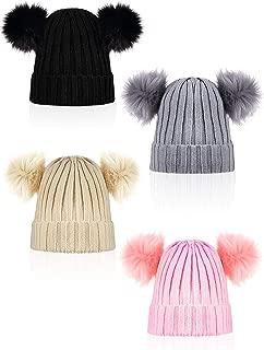 4 Pieces Women's Double Pom Beanie Hat Winter Knitted Bobble Hat Faux Fur Ball Cap