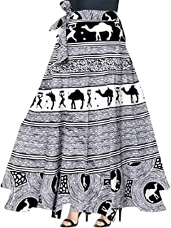 Rangun Unique Choice Women's Printed Cotton Wrap Around Skirts (Black and White, Free Size)