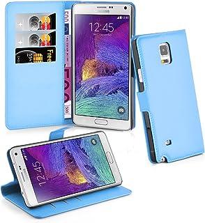 Cadorabo Carcasa para Samsung Galaxy Note 4Funda en Pastel Azul Funda con Tarjetero y función Atril Case Cover Carcasa Funda Book Style Pastel de Color Azul