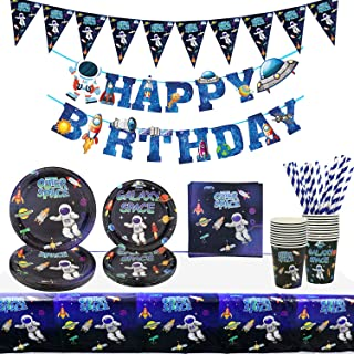 Fournitures de fête de l'espace extra-atmosphérique - Bannière joyeux anniversaire Galaxy Planet, assiettes, serviettes, t...