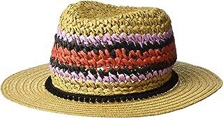 Women's Panama Hat with Striped Pom Band
