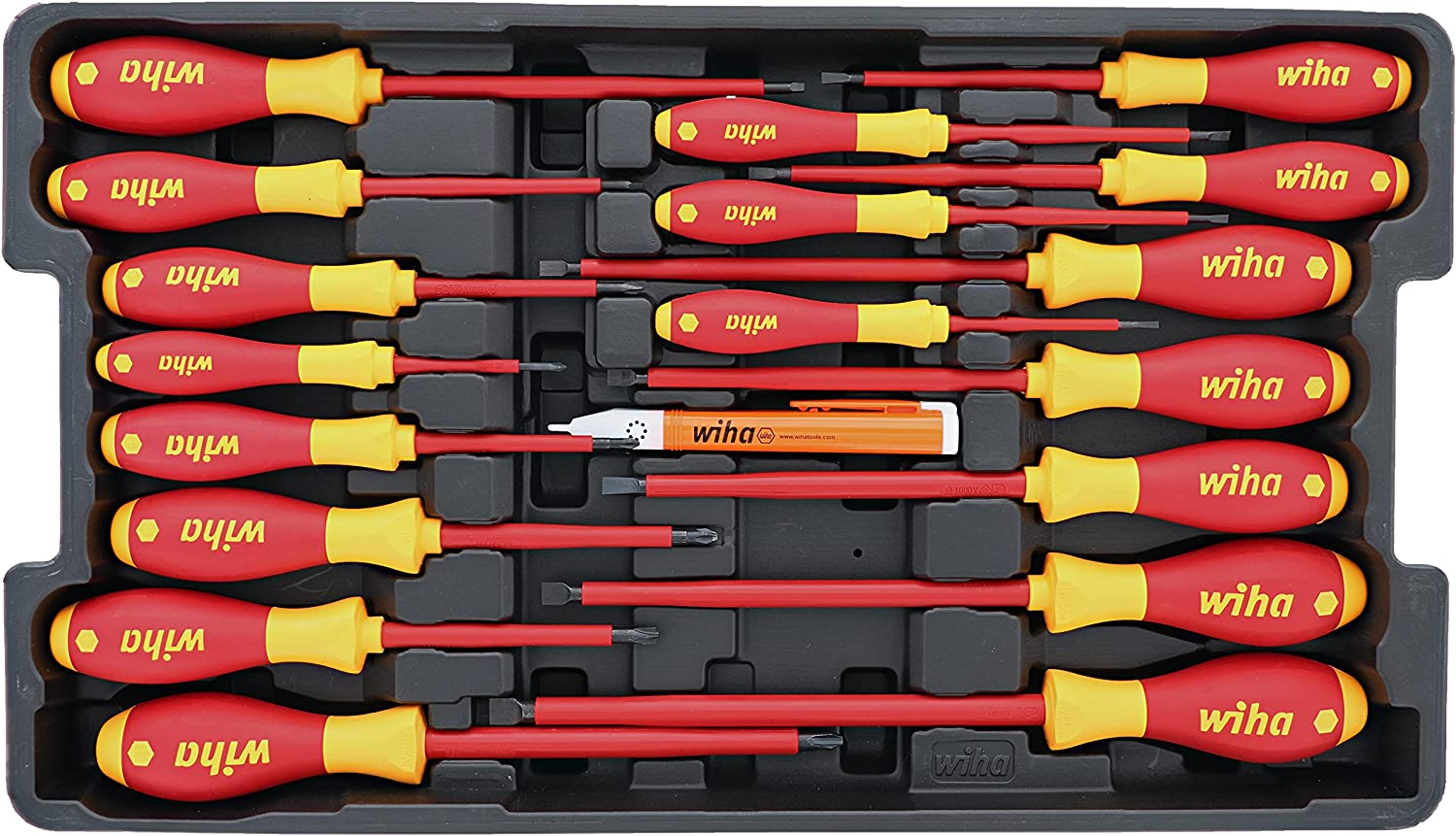 Wiha 32095 Slotted and Phillips Insulated Screwdriver Set, 1000