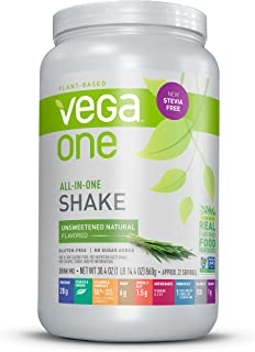 Vega One All-In-One Nutritional Shake Natural Unsweetened (22 Servings) - Stevia Free Plant Based Vegan Protein Powder, Non Dairy, Gluten Free, Non GMO, 30.4 Ounce (Pack of 1)