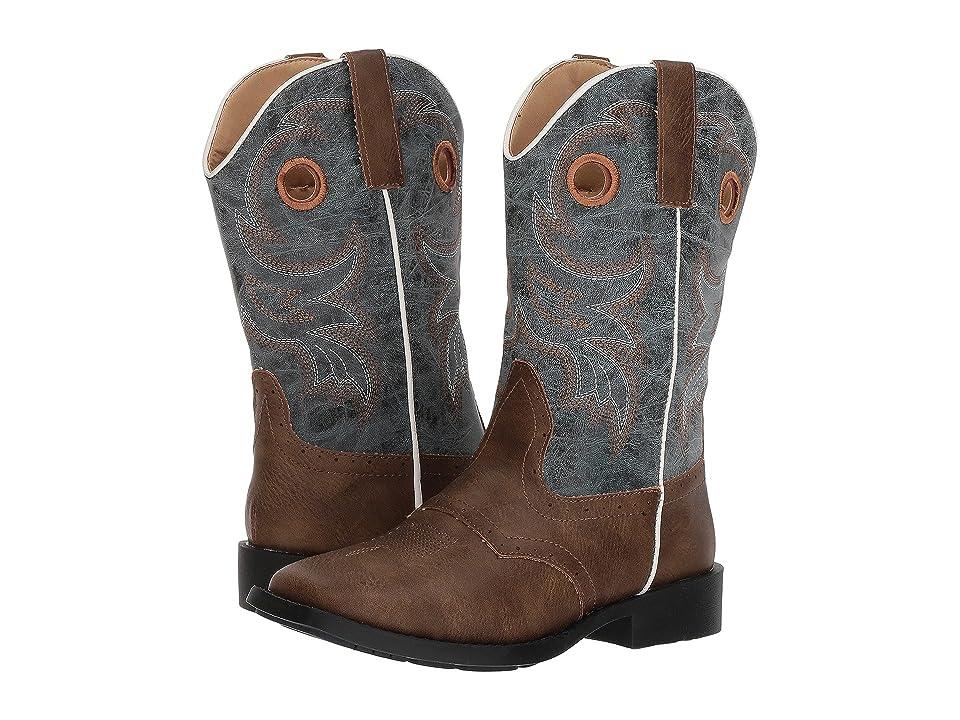 Roper Kids Daniel (Big Kid) (Brown Faux Vamp/Blue Shaft) Cowboy Boots