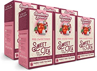 Southern Breeze Sweet Tea, Raspberry, 16 Count (Pack of 6)