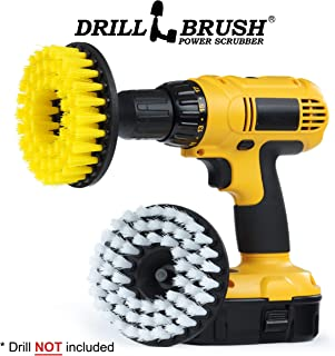 Drill Brush - 5-inch Spin Brush Cleaning Kit - Calcium, Mineral Deposits, Soap Scum, Rust - Hard Water Stain Remover - Grout Cleaner - Shower Curtain - Bath Mat - Bathroom Accessories - Shower Door