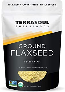 Sponsored Ad - Terrasoul Superfoods Organic Ground Flax Seeds, 2.5 Pound - Finely Ground | Smooth Texture | Golden Flax