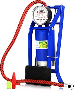 Bomba De Ar com Pedal e Medidor de Alta Pressão para Pneu de Bicicleta Bike Moto Carro Bola Brinquedos Infláveis (Azul)