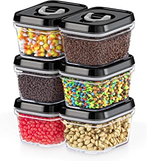 DWËLLZA KITCHEN Airtight Food Storage Containers with Lids – 6 Pieces All Same Size - Pantry Container for Spices, Candy, Nuts, Coffee and Tea, Clear Plastic BPA-Free, Keeps Food Fresh & Dry