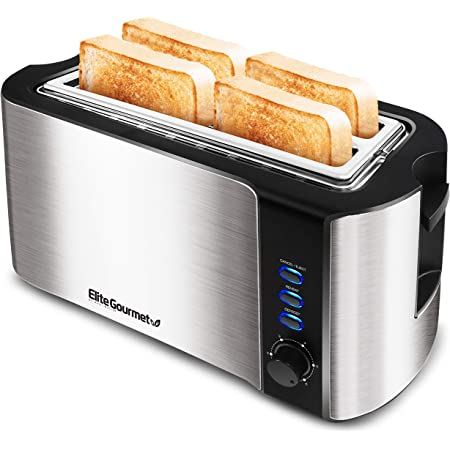 Elite Gourmet ECT-3100 Maxi-Matic 4 Slice Long Toaster with Extra Wide Slot for Bread, Croissants, and Buns, Reheat, Cancel and Defrost, 6 Adjustable Toast Settings, Stainless Steel