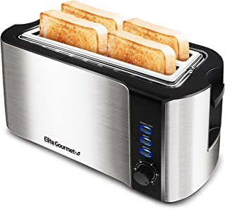 Maxi-Matic ECT-3100 4-Slice Long Toaster 6 Toasting Levels & Extra Wide Slots for Bagels, Waffles, Specialty Breads, Puff Pastry, Snacks, Stainless Steel