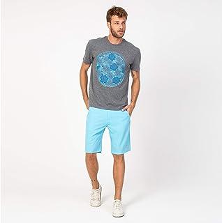 Camisa Casual T-shirt Cinza e Flores Azul