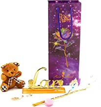 Colorful LED Gold Galaxy Rose with Gold Rose Necklace, Bear, and Love Flower Base Valentine's Day Thanksgiving Mother's Day Girl's Birthday, Best Gifts for Her for Girlfriend Wife Women