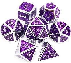 Haxtec Metal Dice Set D&D Sparkling 7PCS DND Dice of D20 D12 D10 D8 D6 D4 for Dungeons and Dragons RPG Games-Glitter Dice (Amethyst(Silver Purple Glitter))