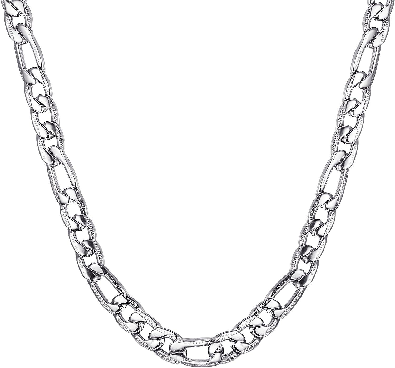 3//5//8mm Grosor 40cm 81cm Largo Richsteel Collar Italiano de Acero Inoxidable para Mujeres Hombres Platino//Dorado//Negro