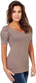 KRISP Women Basic Jersey Tops Ruched Pleated Plain T Shirt