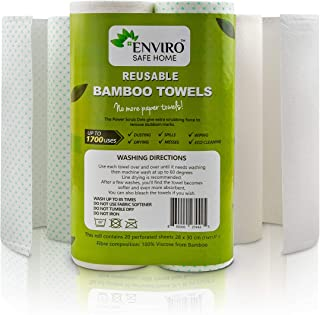 Enviro Safe Home Bamboo Paper Towels - Reusable Paper Towels are Washable, Heavy Duty, Eco Friendly, Recycled, Biodegradab...