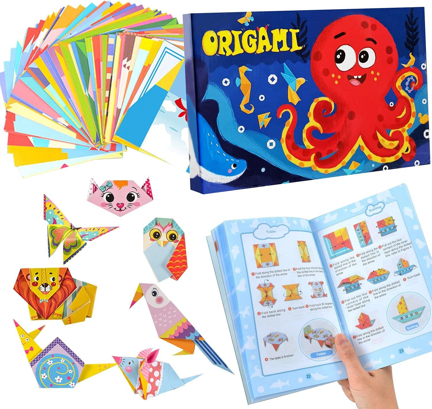 ANWANTU Origami Kit Cheap mail order shopping 152 35% OFF Double Ori Sided Vivid 72 Papers