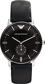 Men's Stainless Steel Quartz Watch with Leather Strap, Black, 20 (Model: AR0382)