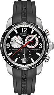 Certina DS Podium GMT Black and Silver Dial Black Rubber Mens Quartz Watch C0016392705700