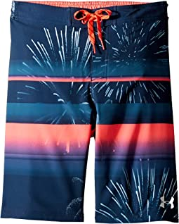 Dynomite 1/2 Back Elastic Boardshorts (Big Kids)