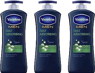 Vaseline Men Healing Moisture Body Lotion For Dry Skin Fast Absorbing Absorbs in Just 15 Skin For Moisturized Skin 20.3 oz 3 count