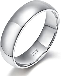 EAMTI 2mm 4mm 6mm 925 Sterling Silver Ring High Polish Plain Dome Wedding Band Comfort Fit Size 4-12