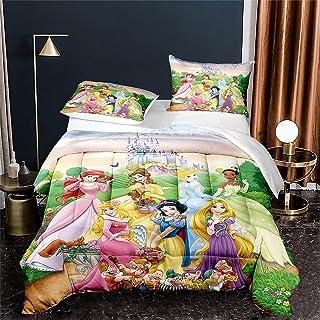 Yumhi Princess Snow White Bedding Set for Girls Cinderella Duvet Cover Set Twin Size 3D Cartoon 2 PCS Kids Bed Set Comforter Cover,1 Quilt Cover+1 Pillowcase