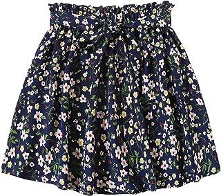 Women's Summer Floral Print Self Belted A Line Flared Skater Short Skirt