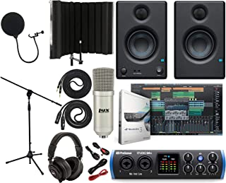 "PreSonus Studio 24c 2x2 USB Type-C Audio/MIDI Interface with Eris 3.5 Pair Studio Monitors and 1/4"" Instrument Cable and Microphone Isolation Shield"
