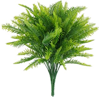 CLONG Artificial Plants Boston Fern Bush Fake Plastic Greenery Shrubs Fern Grass Bushes Flowers Filler Nephrolepis Exaltata Indoor Outside Home House Garden Office Bonsai Decor - 4pcs