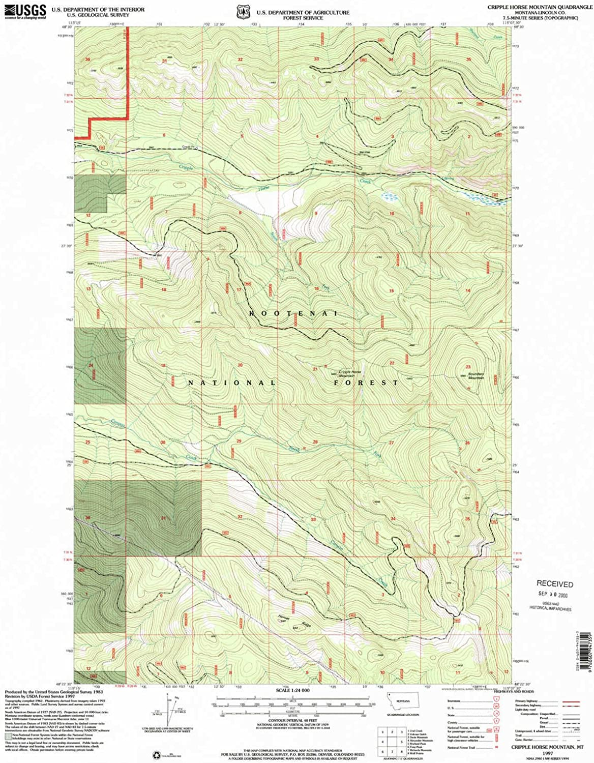 Cripple Horse Mountain MT topo map, 1 24000 Scale, 7.5 X 7.5 Minute, Historical, 1997, Updated 2000, 27 x 21.8 in