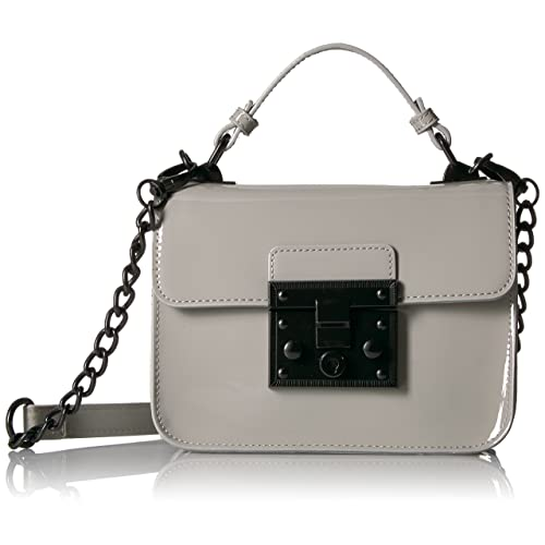 5437632fc3 Steve Madden Handbag, Evie, Women Top Handle Patent Faux Leather Structured  Flap Crossbody With