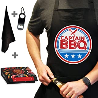 West End Warehouse Funny Apron, BBQ Apron, Grill Apron, Chef Apron, Black Kitchen Apron with 3 Pockets, Bottle Opener, Tow...