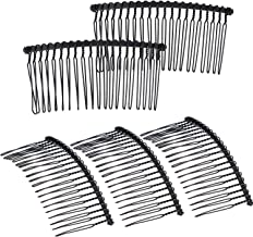 5 Pieces 20 Teeth Hair Clip Combs Metal Wire Hair Combs Wire Twist Bridal Wedding Veil Combs (Black)