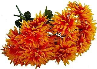 MM TJ Products Artificial Chrysantemum Bush: 7 Stems Pack of 4 (Yellow/Orange)