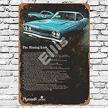 Ellis 1968 Plymouth Road Runner 2 Cartel de Metal Retro Vintage para decoración de Pared para Tienda de Hombre, Cueva, Bar, Garaje, casa