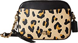 Leopard Print Blocked with Rivets Camera Bag