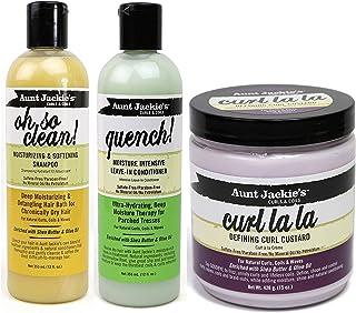 Aunt Jackies Curls & Coils Trio Bundle - Paquete de champú Oh So Clean de 355ml crema para definir rizos Curl La La ...