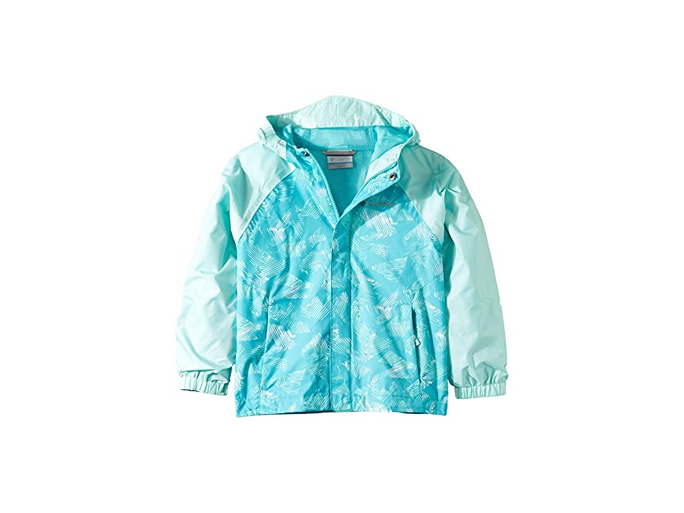 Columbia Kids Fast and Curioustm II Rain Jacket (Little Kids/Big Kids) (Geyser Texture/Geyser Stream Invizza) Girl