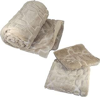 Home Soft Things Geo Tatami Faux Fur Throw Blanket with Pillow Shell Set, 50 x 60, Humus