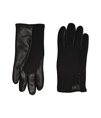 UGG Snap Tab Fabric Tech Gloves with Sherpa Lining (Black) Extreme Cold Weather Gloves